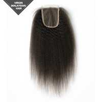 Wholesale Alibaba Malaysian human hair extension Kinky Straight Free Parting Lace Closure Bleached Knots remy hair extension