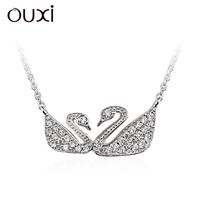 OUXI swan-shaped silver jewelry 925 sterling Silver & diamond necklace cystals from Swarovski Y10006