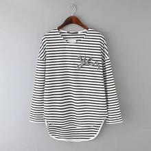 C12279A Stripe Adornment Bead Piece T-shirt Easy Leisure Shirt