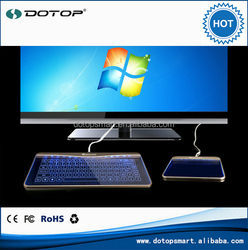 DotoDotop Slim LED Backlight Backlit Smart Touch Glass Keyboard with Mouse Function for Apple Windows Pc Desktop Computer Tablet