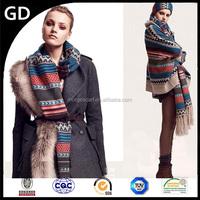 GDK0007 Ninna Nanna ladies embroidery Muiti-color long acrylic knit tassel scarf shawl wrap