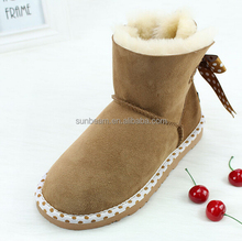Fashion design sheepskin leather colorful winter ankle leather boot