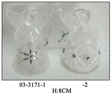 Hand Blown Elegant Frosted Chirstmas Hanging Glass Angel