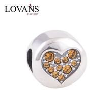 Silver Heart Charms Fit European Bracelet Snake YZ355