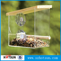 2015 new design clear acrylic automatic pet/bird feeder with suction cup