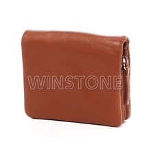 Stud folding leather coin purse with card holder and wallet
