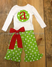 Boutique clothing set white top with bowknot christmas polkadot ruffle pants children wholesale ruffle clothing