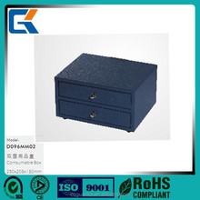 Royal blue leather double layers consumable case for hotel supplies