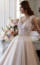 S1247charming pescoço v beading vestido de baile de tule bordado projetos para vestido de noiva