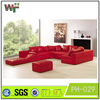 PH-029 Living room furniture red rose leather sofa