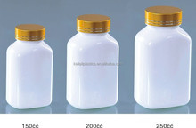 200ml plastic medical drugs bottles and aluminium lide with Gold lid in square shape