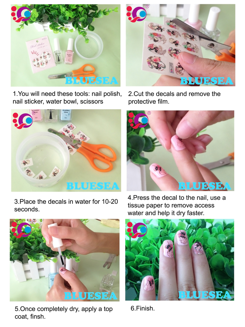 Transfer Nail Decals Chinese Words Art Designs
