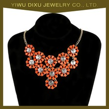 Hot Selling OEM Fashion Jewelry Crystal Resin Flower Necklace Jewelry for Women