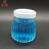 100ml embossed vertical strip glass pudding jar glass yogurt milk bottle with plastic cap