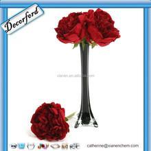 Wholesale Handblown Cheap Tall Black Colored Clear glass vase