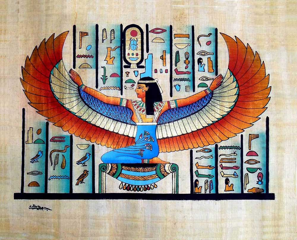 Egyptian papyrus paintings winged goddess isis for Egyptian fresco mural painting