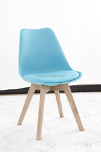 new arrival modern colourful plastic solid Oak&beech wooden legs plastic dining chair with PU cushion