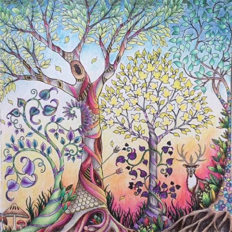 Wholesale Decompression Coloring Book Hand Paint Secret Garden Postcard Book Enchanted Forest