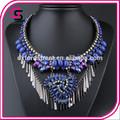 2014 nuevos productos venta caliente collar de piedras preciosas de color azul oscuro collar de lujo