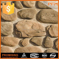 New design stream stacked stone,artificial yellow river rock for wall