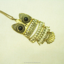 Vogue Egypt style black beads eyes gold joint owl pendant with long luxury gold chain necklace
