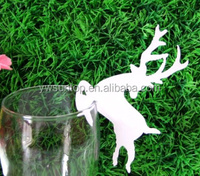 Wedding Wine Glass animal Paper Pure white deer Place Card Holder table decoration