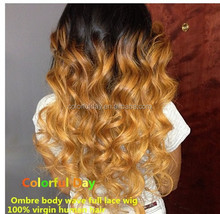 2015 China Newest Two Tone Ombre Body Wave Full Lace Wig No Split Ends , Very Soft