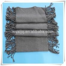 gris de lana acrílica tubo borla bufanda chal de invierno