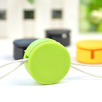 cute smart round colorful TPR and flocking earphone cable bobbin winder