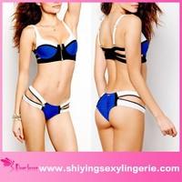 Zip Decor Color Block Royal Blue mini transparent bikini bikinis for mature women mini micro swimwear for woman