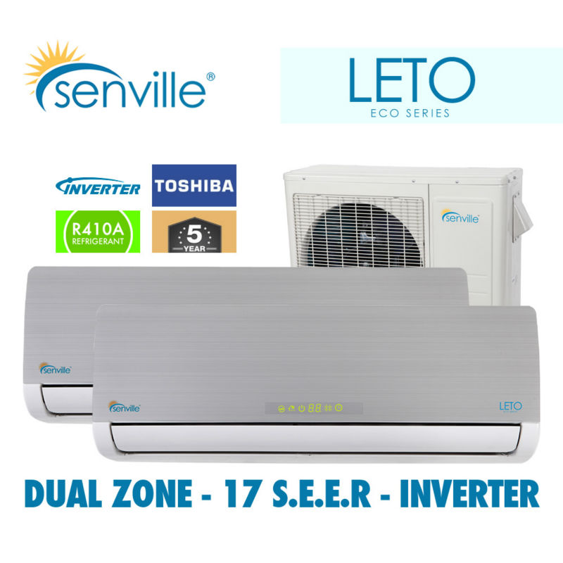 senville leto dual zone 18000btu ductless mini split air. Black Bedroom Furniture Sets. Home Design Ideas