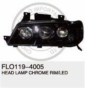 BLACK KIA HEAD LAMP CHROME RIM/LED FOR PRIDE '03 III