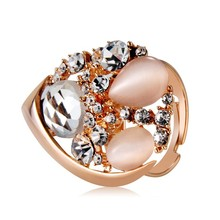 [R009]China wholesale fashion jewelry ring,lady Crystal wedding/party ring,Golden Heart-shape design imitation opal Crystal Ring
