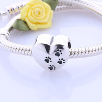Wholesale Dogs Leave Prints On My Heart 925 Sterling Silver Hearts Animal Charm Stamp Dog Paw Print Charms For Bracelet Jewelry