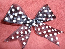 Pre-tied ribbon bow with black and white dot for gift package,gift box