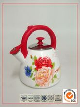 New Product for 2015 Cast Iron decal Enamel Whistling Kettle Barley Shape Teapot Kettle With Bakelite Handle