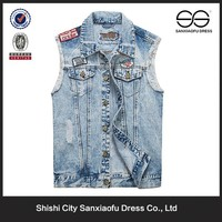 High Quality Fashion Western Cool Scratch Washed Design Boys And Mens Wholesale Jean Vest