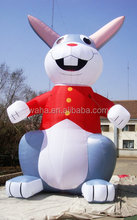 waha 6m inflatable gray rabbit with red vest