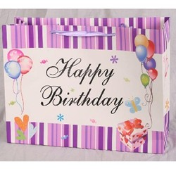 Vertical Stripe happy birthday Paper Party Bags Purple Candy Favor Treat Gift Goodie Bag