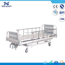 YXZ-C-036 Three Cranks Hospital Patient Bed with Aluminum Alloy Side Rails and Silent Braking Castor