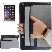 Toothpick Texture Expand Sound Handheld PU Leather Case for iPad Air 2 with Holder