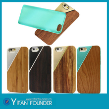 Hot sale 2015 new arrival metal aluminum mixed phone case , wood aluminum back cover case for iPhone 6