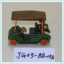 Painted wooden hand-crafted arts model- collectable golf cart