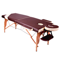 Luxury PU Leather Wooden Two Folding Adjustable Table Massage