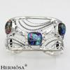 Free ShippingMen Jewelry 925 Sterling Silver Genuine Multicolor Murano Hollow Adjustable Bangle CUFF Bracelet