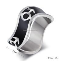 Stainless steel enemal wiggle mars symbol ring vintage jewelry