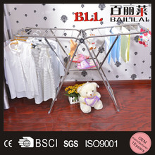 Modern Metal Collapsible Cloth Dry Rack, Retail Clothing Rack With Shoe Rack