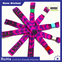 2015 High Quality Polyester Wristband theme parks Promotion Woven Wristband