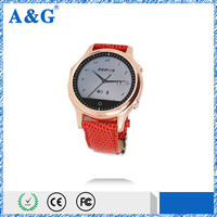 Real Leather Material Android /ISO Round Smart bluetooth watch with SOS /Pedometer