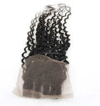 Mongolian deep curly human hair lace frontal closure